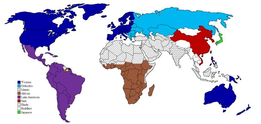 Τhe clash of civilizations according to Huntington (1996), as presented in the book.