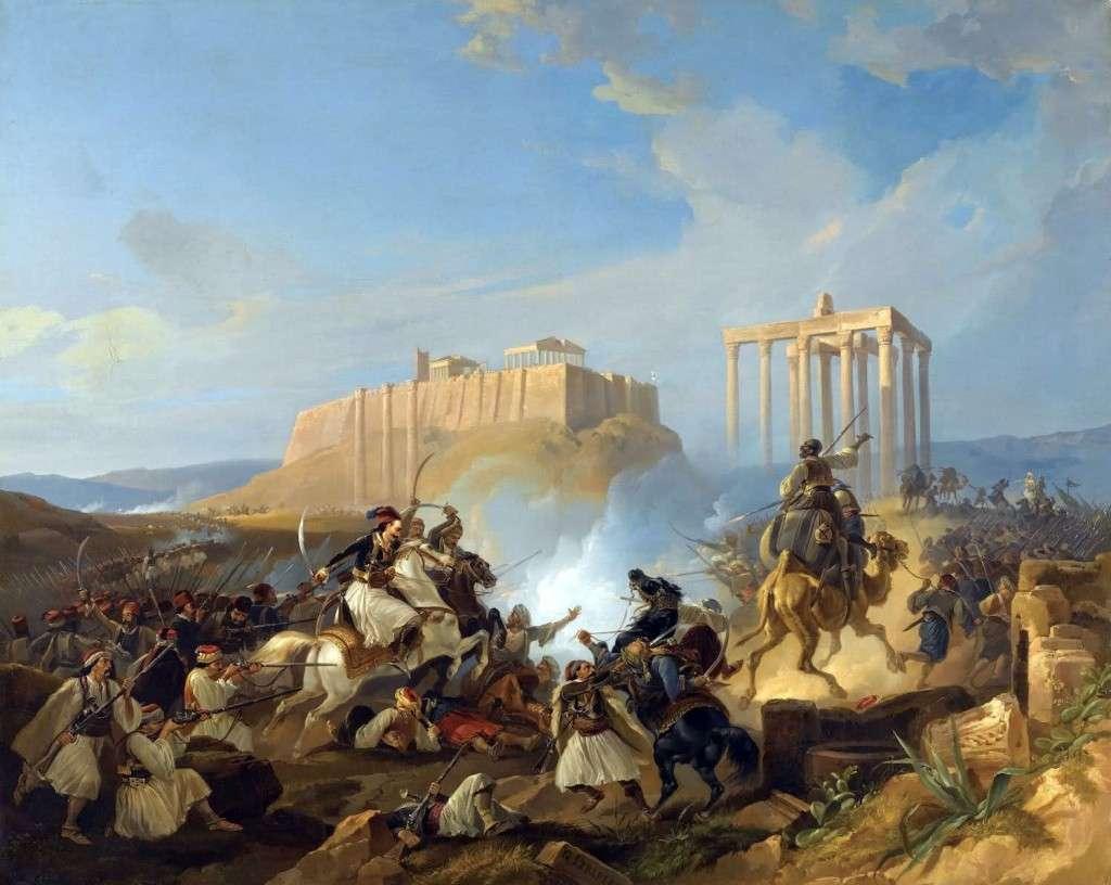 Greece Expiring on the Ruins of Missolonghi by Eugène Ferdinand Victor Delacroix