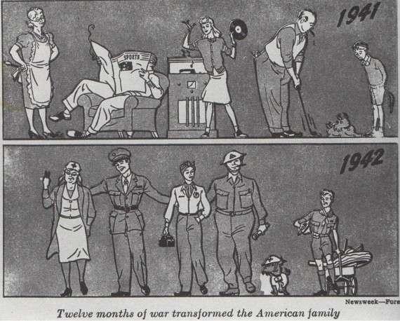 «Δώδεκα μήνες πολέμου μεταμόρφωσαν την αμερικάνικη οικογένεια» - Όλοι συμμετέχουν στην προσπάθεια, ακόμα και τα κατοικίδια.