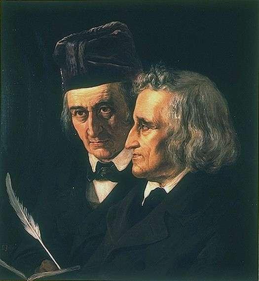Ο Wilhelm Grimm (αριστερά) και ο Jacob Grimm (δεξιά) σε πίνακα του 1855 του Elisabeth Jerichau-Baumann.