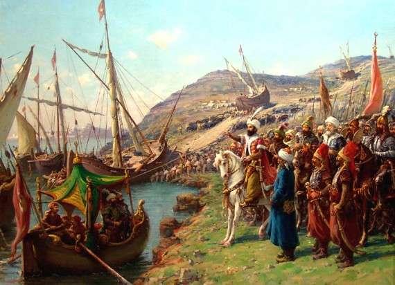 Fausto Zonaro, 1900, Οι πολιορκητές Τούρκοι μεταφέρουν το στόλο τους πάνω από τον Κεράτιο