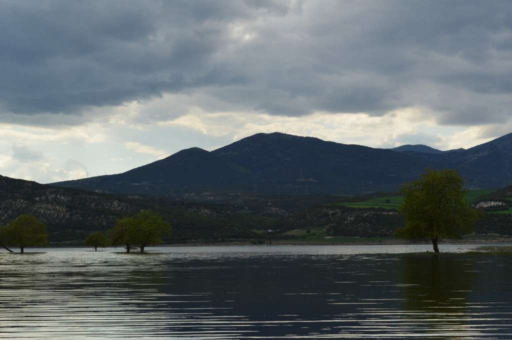 Η τεχνητή λίμνη Πολυφύτου, κοντά στην παλιά γέφυρα. Δεκάδεςπαλαιά  χωριά και οικισμοί καλύφτηκαν κάτω απ' τα νερά του Αλιάκμονα.