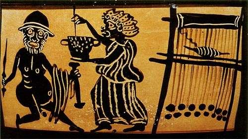 Κίρκη στον αργαλειό της και Οδυσσέας (καβειρικό αγγείο)