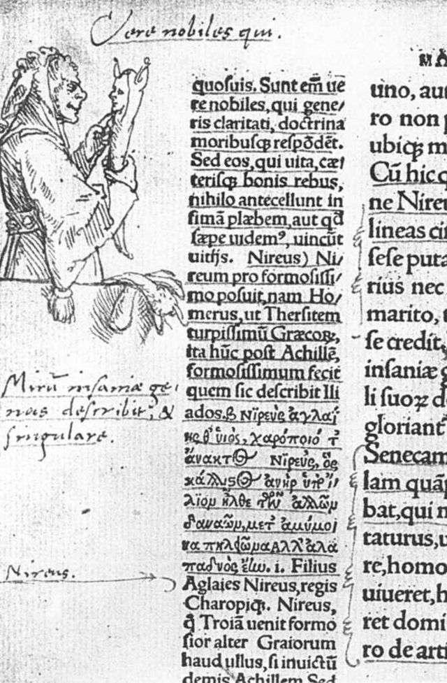 Η Μωρία σε σχέδιο του HansHolbein στην πρώτη έκδοση του 1515.