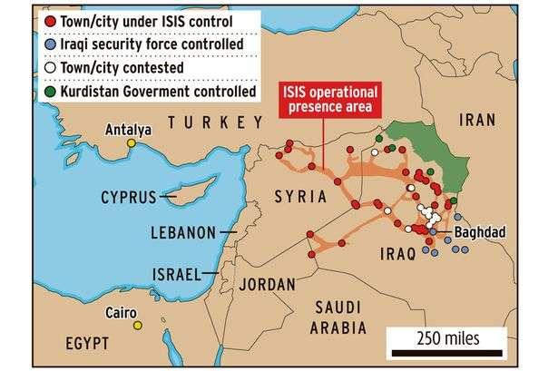 Περιοχές που κατέχει το Ισλαμικό Κράτος του Ιράκ και της Συρίας.