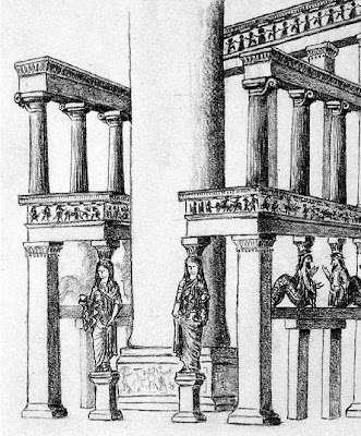 """Υποθετική αναπαράσταση της πρόσοψης του """"θρόνου"""" του Αμυκλαίου Απόλλωνα του 6ου αιώνα π.Χ."""