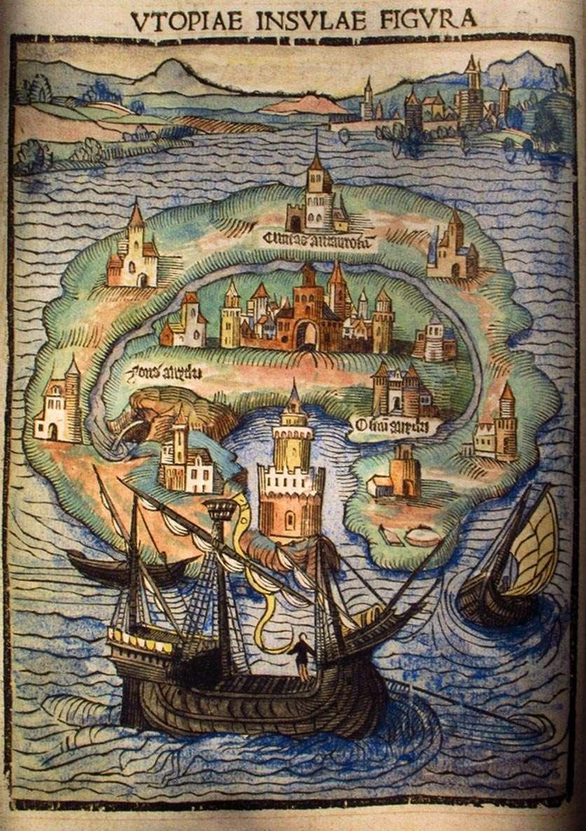 Απεικόνιση του νησιού Ουτοπία, στην αρχική έκδοση του 1516
