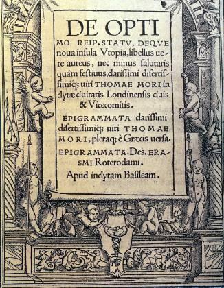 Εξώφυλλο έκδοσης της «Ουτοπίας» μαζί με τα «Επιγράμματα» του Έρασμου, φίλου του Μορ - 1518