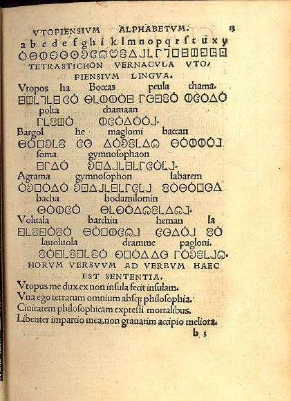 Δείγμα του αλφάβητου της Ουτοπίας, όπως την φαντάστηκε ο φίλος του Μορ, Peter Giles, στην έκδοση του 1518.