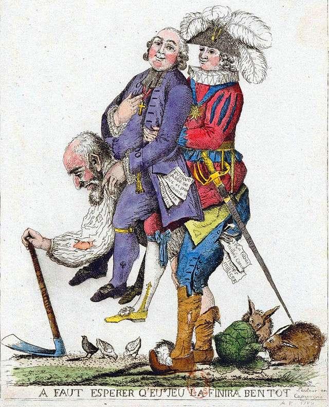 Καρικατούρα του 18ου αιώνα που αναπαριστά την τρίτη τάξη στη Γαλλία σε πλήρη εκμετάλλευση, να έχει στους ώμους της τις υπόλοιπες δύο τάξεις