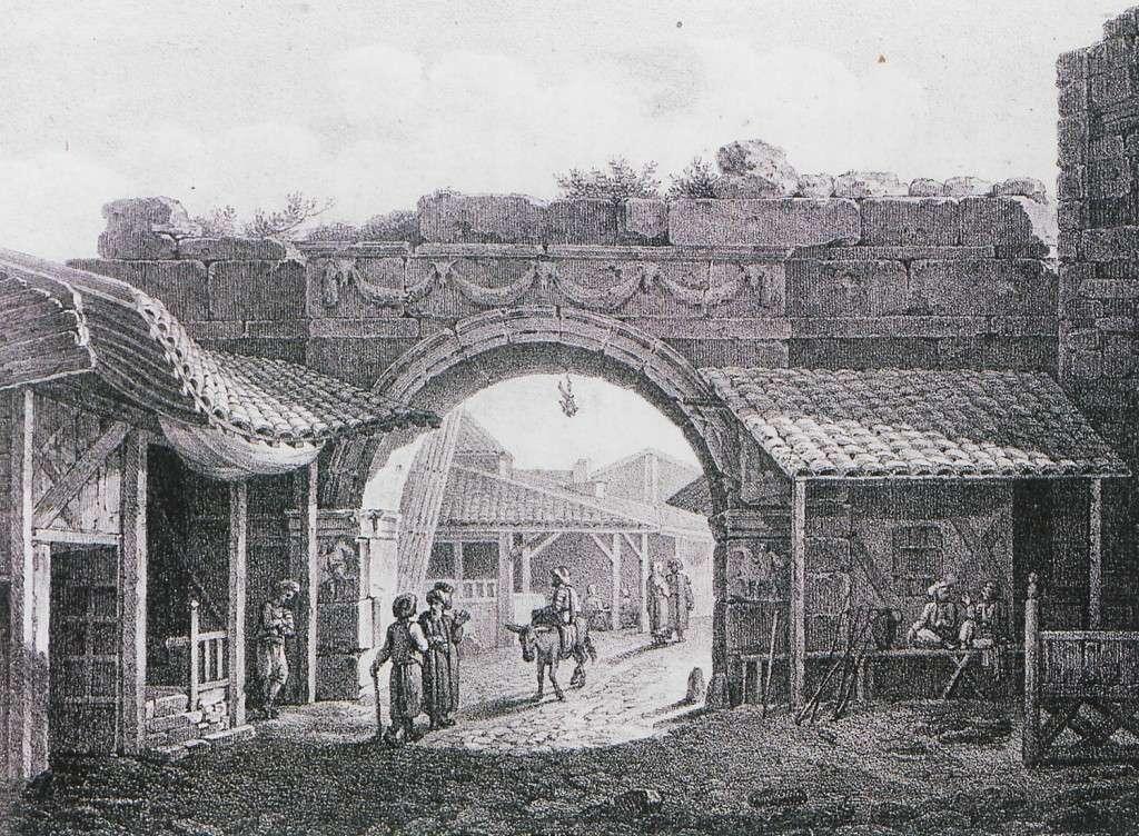 Η Χρυσή Πύλη ή Πύλη του Αξιού στη Θεσσαλονίκη. Από την έκδοση του E. M. Cousinéry, Voyage dans la Macédoine, Παρίσι 1831.