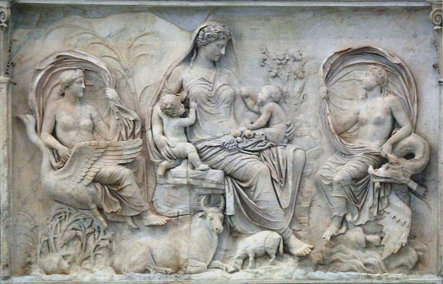 Divine semi-nudity on the Augustan Altar of Peace, combining Roman symbolism with a Greek stylistic influence
