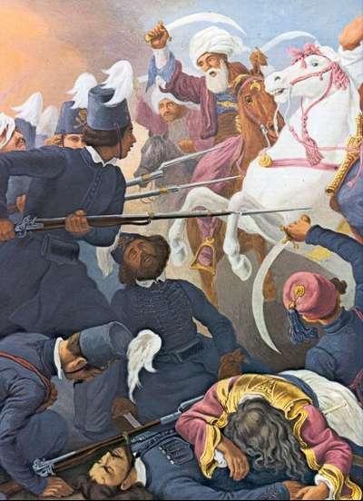 «Οι Ιερολοχίτες μάχονται στο Δραγατσάνι», πίνακας του Πέτερ Φον Ες.