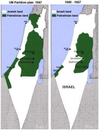 Το σχέδιο του ΟΗΕ αριστερά, και τα διευρυμένα σύνορα μετά τον πόλεμο του 1948 δεξιά.