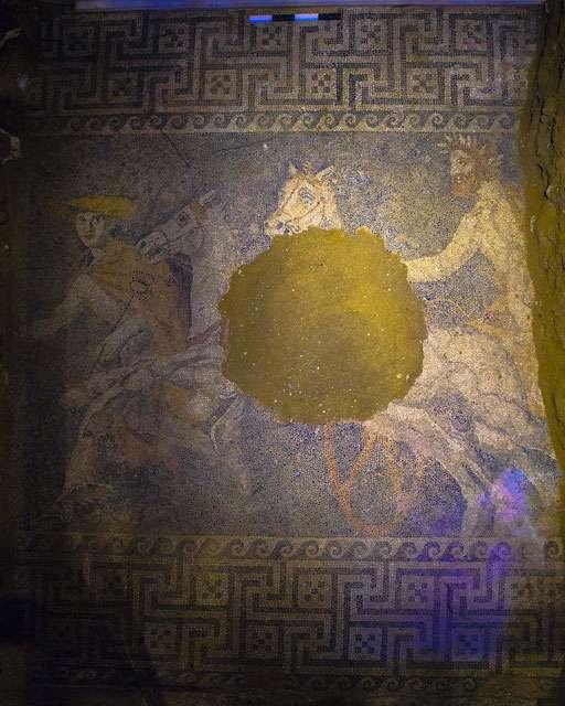 Το ψηφιδωτό δάπεδο, ανατολικά και δυτικά, δεν έχει αποκαλυφθεί στο σύνολό του, καθώς η ανασκαφή είναι ακόμη σε εξέλιξη στα τμήματα αυτά.