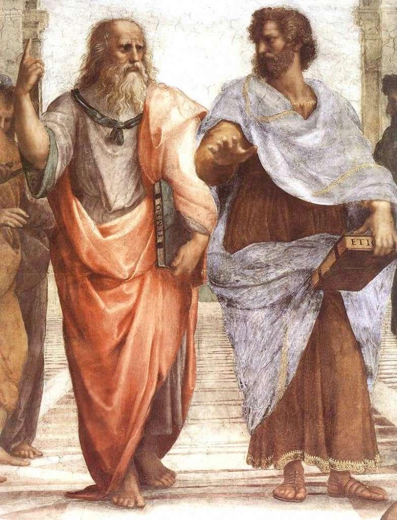 O Πλάτωνας (αριστερά) και ο Αριστοτέλης (δεξιά), λεπτομέρεια της Σχολής των Αθηνών του Ραφαήλ