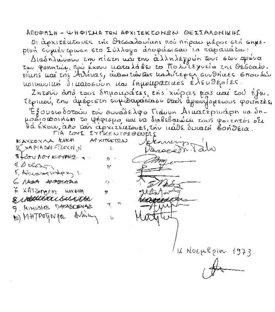 Δυο ιστορικά ψηφίσματα των αρχιτεκτόνων Θεσσαλονίκης