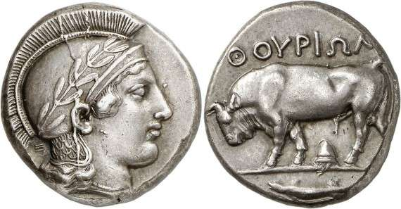 ANCIENT COINS. GREEK. Lucania, Thurium (c.443-400 B.C.)