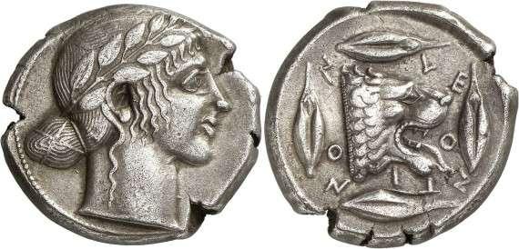 ANCIENT COINS. GREEK. Sicily, Leontinoi (c.460 B.C.), Silver Tetradrachm