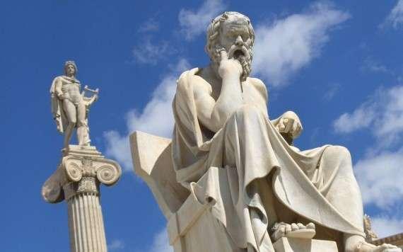 Ο Σωκράτης στην Ακαδημία Αθηνών (στο βάθος ο Απόλλωνας)