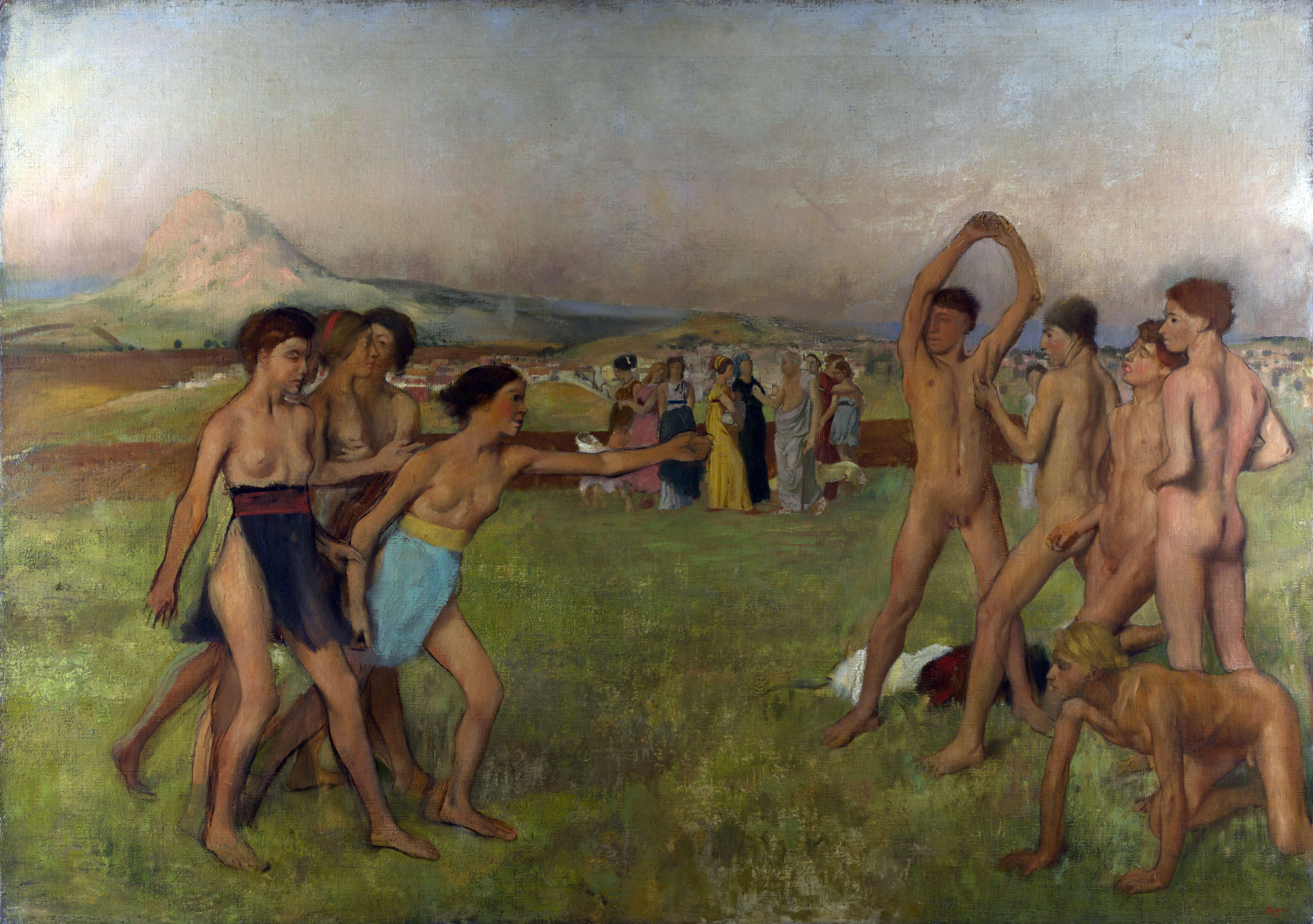 Νεαροί Σπαρτιάτες. Young Spartans Exercising by Edgar Degas (1834-1917)