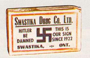 """Η φαρμακευτική εταιρία """"Swastika Drug Co. Ltd"""" γράφει «Καταραμένος ο Χίτλερ – Αυτό είναι το σήμα μας από το 1922»"""