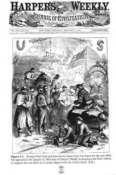 Η πρώτη απεικόμιση του Άη-Βασίλη όπως τον ξέρουμε, στην υπηρεσία της προπαγάνδας του αμερικάνικου εμφυλίου, φορώντας εδώ την αστερόεσσα (1863).