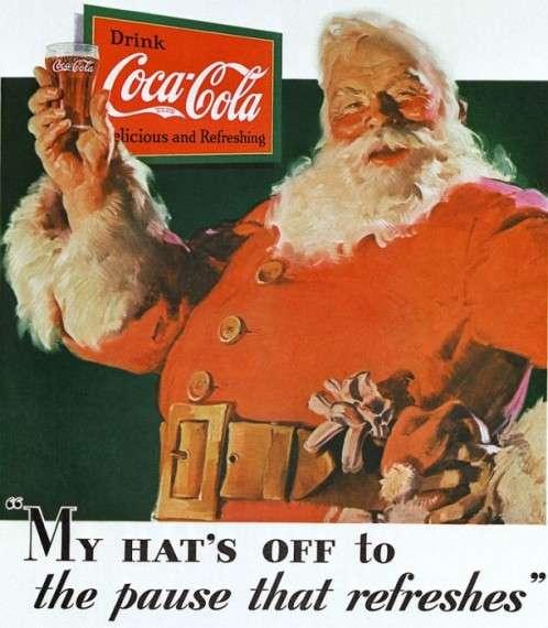 Η πρώτη διαφήμιση της Coca-Cola με τον Άη-Βασίλη: «Βγάζω το καπέλο μου στο διάλλειμα που αναζωογονεί», 1931.