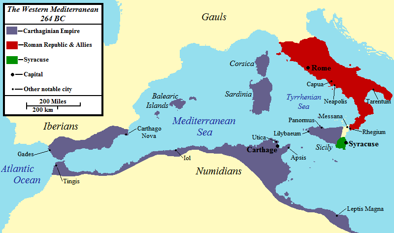 Map of the western Mediterranean at the time of the First Punic War in 264 BCE.