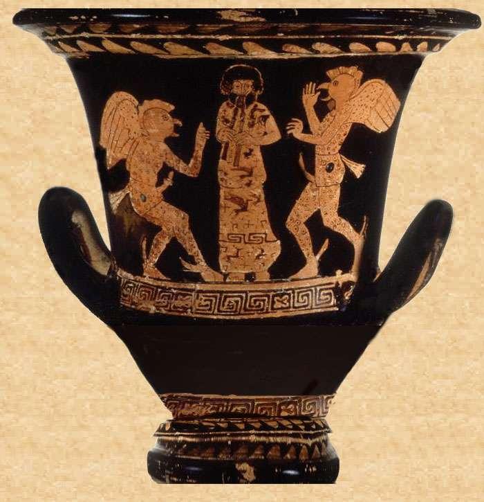 ερυθρόμορφος κρατήρας του 5ου π.Χ. αιώνα με διακόσμηση εμπνευσμένη από παράσταση Ορνίθων (Paul Getty Museum)