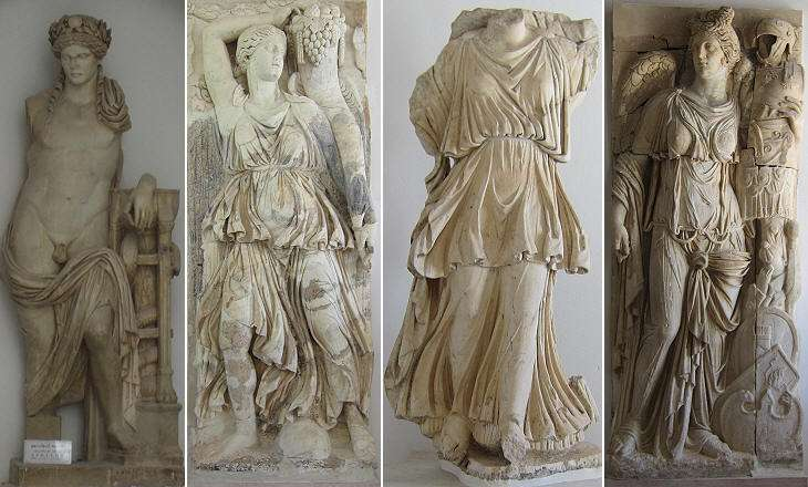 (left to right): 1) Museum of Bardo. Apollo Citharede found at the theatre; 2) 3) 4) Museum of Carthage. Three statues portraying Victory. 2) and 4) were part of a IInd century monument built on the acropolis, probably to celebrate Emperor Marcus Aurelius