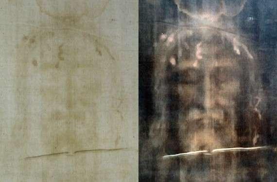 Φωτογραφία του μανδύα αριστερά, ψηφιακά επεξεργασμένη δεξιά, μιας απάτης 6 αιώνων.