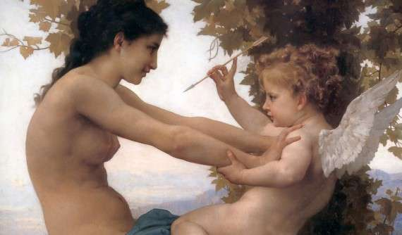"Detail of painting of ""Young Girl Defending Against Cupid"" by Adolphe Bouguereau, 1880"