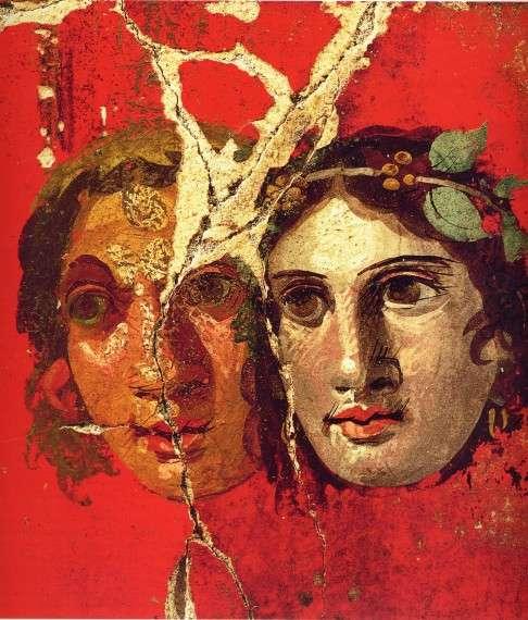 Τοιχογραφία στην Πομπηία, 1ος αιώνας π.Χ. (τέτοιες μάσκες κοσμούσαν χώρους συμποσίων στον Οίκο του Χρυσού Βραχιολιού)