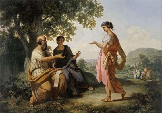 Franc Kavcic – Ο Σωκράτης με μαθητή του, και ίσως τη Διοτίμα (πριν το 1820)