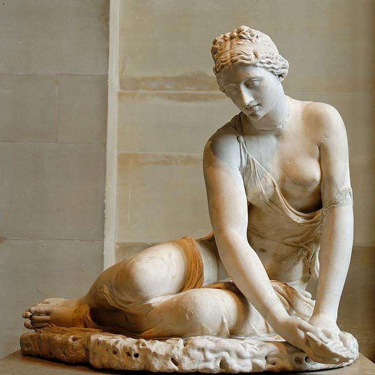 Nymph with a shell, Roman statue (marble) copy of Hellenistic original, head and body different, 1st century AD, (Musée du Louvre, Paris).