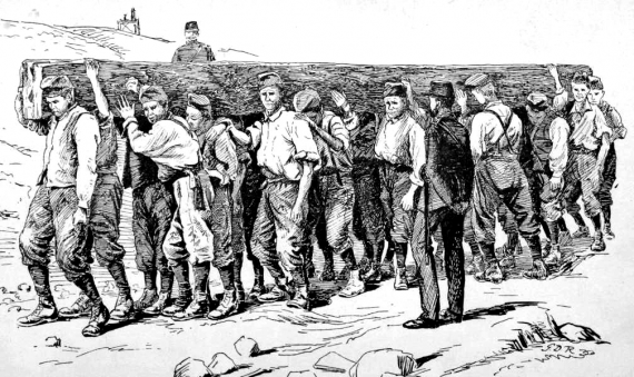 1894 illustration of chain gang performing manual labor