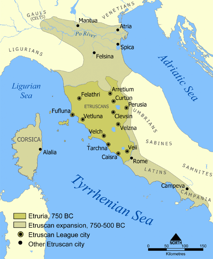 Extent of Etruscan civilization and the twelve Etruscan League cities.