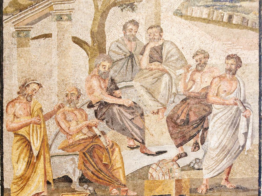 Ρωμαϊκό μωσαϊκό του 1ου αιώνα π.Χ. από την Πομπηία. Ενδεχομένως να αναπαριστά την Ακαδημία του Πλάτωνα.