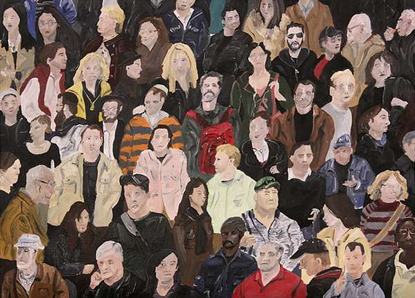 "Emily Grenader, ""Crowd Painting (Times Square)"", 2009. Oil on canvas"