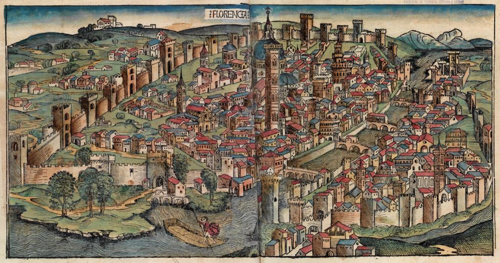 Η Φλωρεντία την εποχή του Μακιαβέλι. Florence in a 1493 woodcut from Hartmann Schedel's Nuremberg Chronicle