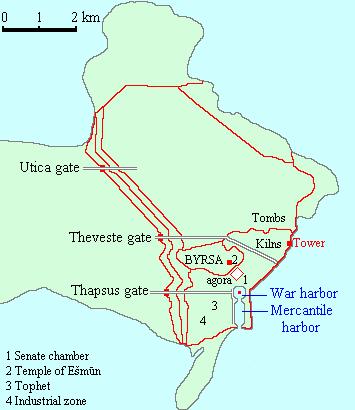 Η περίμετρος της αρχαίας Καρχηδόνας