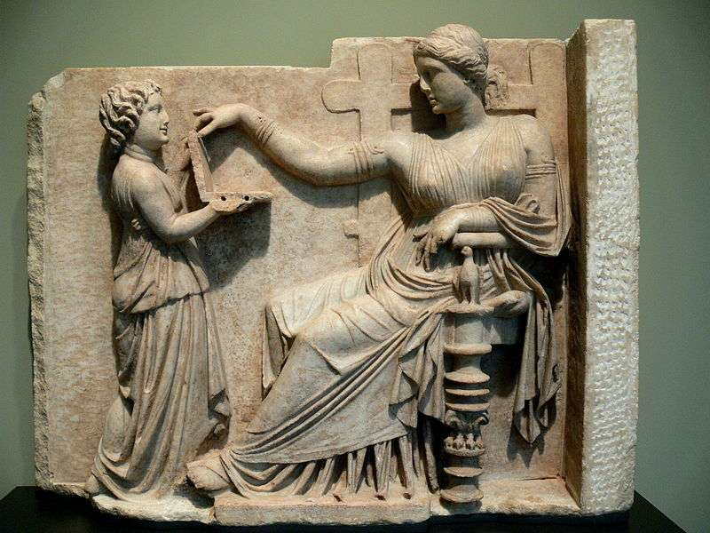 Gravestone of a woman with her slave child-attendant, c. 100 BC