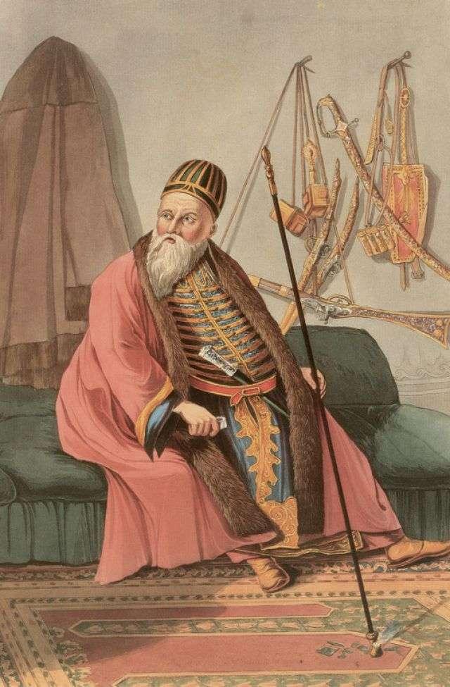 Ο Αλή Πασάς. Έγχρωμη χαλκογραφία του J. Cartwright.