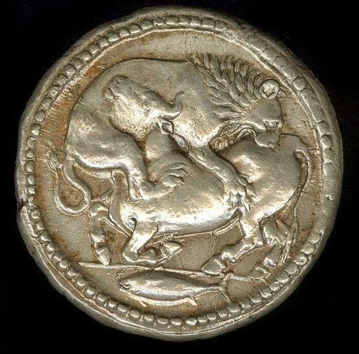 Τετράδραχμο της Ακάνθου, 500- 424 π.χ. Παράσταση: Λέων που κατασπαράζει Ταύρο & στο κάτω μέρος απόδοση μικρού τόνου, το γνωστό στην Ιερισσό Ορκίνι.