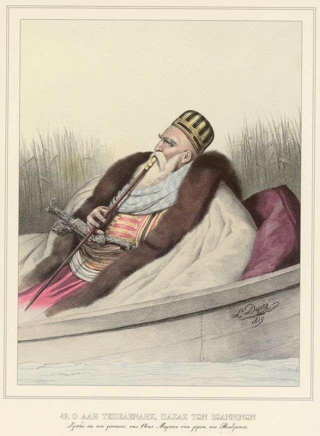 Ο Αλή Τεπελενλής, Πασάς των Ιωαννίνων. Σχέδιο εκ του φυσικού, της 14ης Μαρτίου, στη λίμνη του Βουθρωτού. Του Louis Dupré.