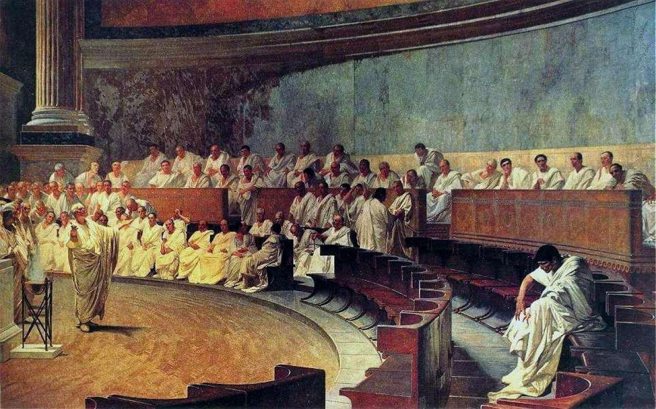 Αναπαράσταση μιας συνεδρίας στη ρωμαϊκή Σύγκλητο: ο Κικέρων καταφέρεται κατά του Κατιλίνα, από τοιχογραφία του 19ου αιώνα.