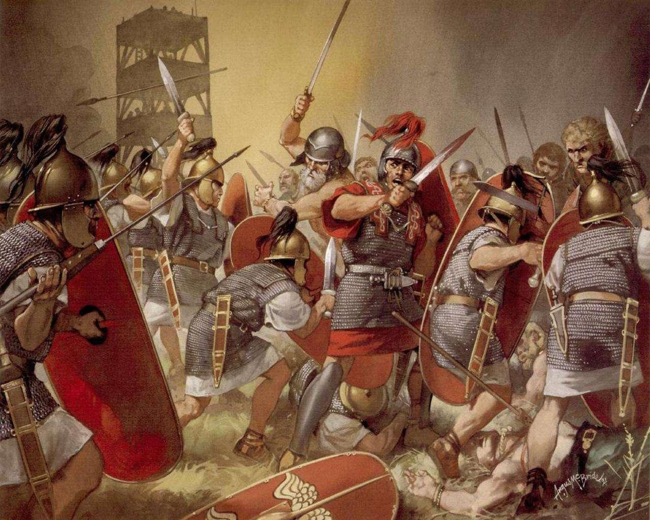 Λεγεωνάριοι της ρωμαικής αυτοκρατορίας σε μάχη (αναπαράσταση)