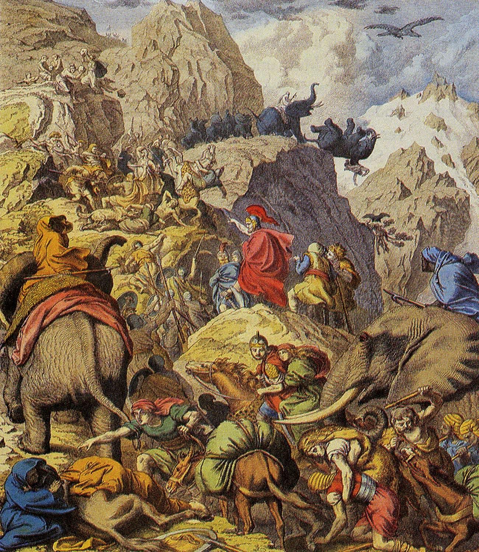 Ο Αννίβας και οι άνδρες του που διασχίζουν τις Άλπεις.