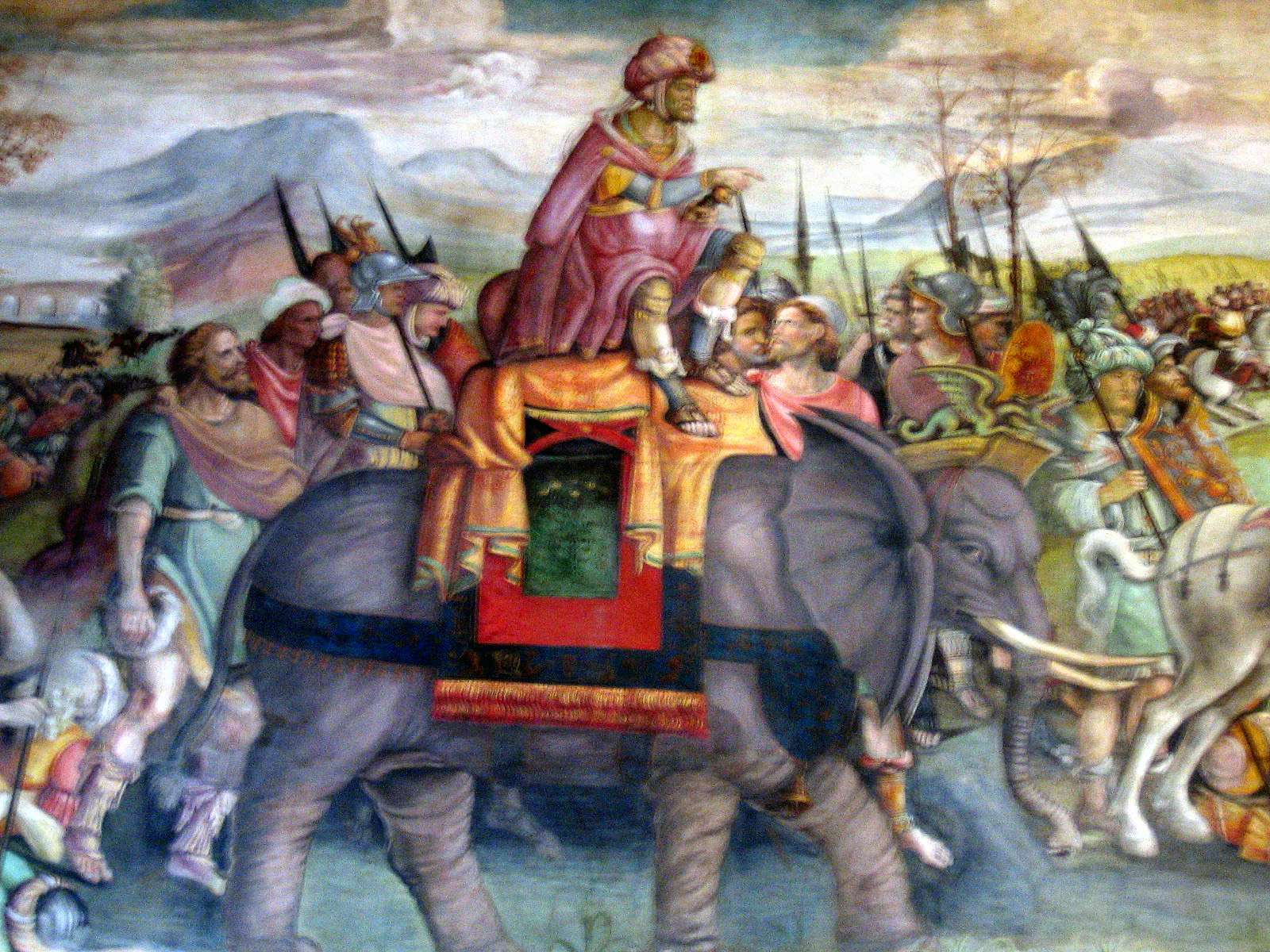 Hannibal's celebrated feat in crossing the Alps with war elephants passed into European legend: detail of a fresco by Jacopo Ripanda, ca. 1510, Capitoline Museums, Rome.